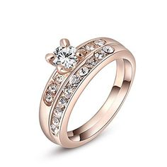 * Penny Deals * - Winter.Z Noble and Elegant Ladies Jewelry Popular Explosion Models Austria Crystal Rose Gold Diamond Sets Of Ring Wedding *** To view further for this item, visit the image link.