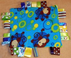 Baby Shower Gift Tag Blanket Fun Monkey Pattern with Crinkle & Squeaker