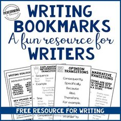 These free bookmarks are a great reminder for students working on any type of writing! Print on cardstock and use all year!Bookmarks are included for:Explanatory / Informational WritingOpinion WritingCreative Narrative and Personal Narrative (transitions and dialogue)*****************************************************************************Need help planning your writing unit?