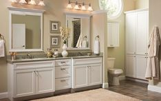 White bathroom cabinets double sink with granite countertop | Decolover.net
