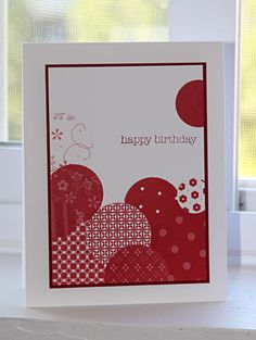 The patterned papers make this easy card lively.   (Aug'12)