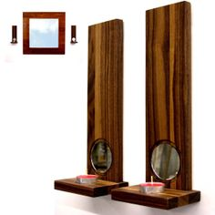 Modern wall sconces candle holders home decor Walnut - duo candle holder restaurant lighting tea light holders  wedding light