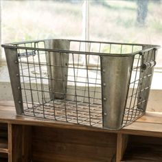 These metal mail baskets, featuring a wire surround with solid metal corners and wood handles on each side, are beautifully rusted for storing your household essentials with vintage farmhouse charm. Metal Baskets, Baskets On Wall, Storage Baskets, Industrial Baskets, Decorative Baskets, Cube Storage, Vintage Industrial, Industrial Style, Aging Metal