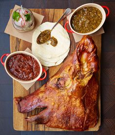 Pig's head on a plate  A slowly (and expertly) cooked hog's head with juicy meat and crackly-crisp skin is magically delicious. Try it: with tortillas and salsa at CBD Provisions in Dallas; on a barbecue sandwich at Greenhouse Tavern in Cleveland.