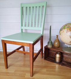 upcycled hand painted two tone contrasting mint chair