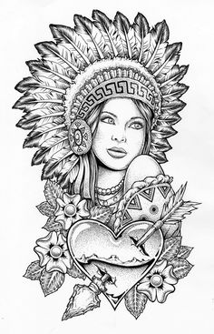 Indian lady with war bonnet on