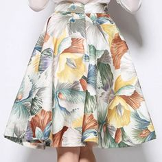 Women Hepburn Floral Print High Waist Pleated Ball Gown Skater A Line MIDI Skirt | eBay
