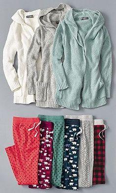 Women's Sleep Sweater Hooded Cardigan and Sleep Pants