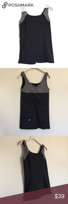 Lululemon Black grey Running tank 4 Excellent condition. Small key pocket in back with ruch detail. lululemon athletica Tops