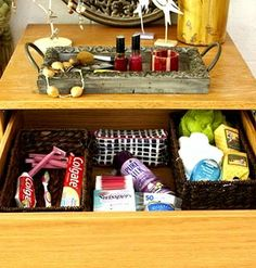 Use dorm room dresser drawers for small space storage for things like toiletries.