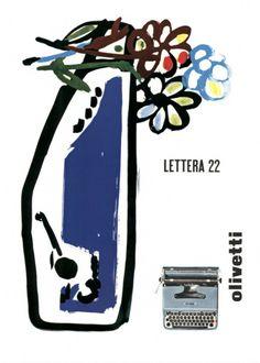 Locandina pubblicitaria di Giovanni Pintori per la macchina per scrivere portatile Lettera 22, pubblicata su riviste e quotidiani nazionali alla fine degli anni '50