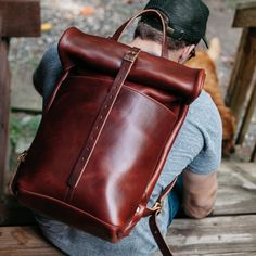 Loyal Stricklin Roll Top Leather Rucksack in Red Brown Trendy Backpacks, Top Backpacks, Messenger Bag Backpack, Leather Backpack, Sandro, Leather Bags Handmade, Leather Projects, Leather Accessories, My Bags