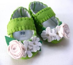 Apple Green Felt Baby Shoes with Linen and Bright White Flowers on Etsy, $28.00