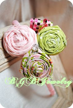 Pink Fabric Flower Headband, Polk a Dot Light Green, Girls, Grosgrain Covered Headband, Children, Handmade, Ribbon, Crystals, HB1