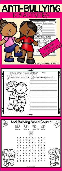 Pink Shirt Day and Anti-bullying activities that are no prep! Fun, engaging, writing and reading for Anti Bullying Lessons, Anti Bullying Activities, Stop Bullying, Classroom Activities, Activities For Kids, Teaching Character, Character Education, Effects Of Bullying, Behavior Goals