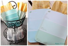 Housewarming Party Utensil Holder with Paint Swatches. I could whip these out in a second!