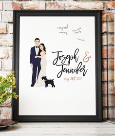 This portrait wedding guestbook is perfect for a modern wedding (as an alternative to the traditional guest book) and features a customized portrait of the couple and your names and date. Wedding guests can sign the print in the empty space, and afterwards you can hang it in your home as a beautiful keepsake.  We create the illustration based on images you send us, and they do not have to be images of the couple together, or in the actual outfits you want to be wearing in the illustration…