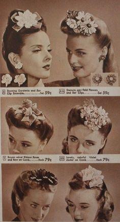 1940s Hats History - 20 Popular Women's Hat Styles floral flower rolls