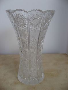 Hand Cut Bohemia Czech Crystal Vase Diamond Cut Lead Crystal 24 Beautiful Crystal Glass