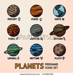 Set of color hand drawn planet icons with names and astronomical symbols - mercury, venus, earth, mars, jupiter, saturn, uranus, neptune, pluto. Vector
