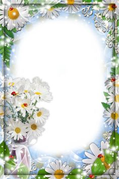 Flower frame for the photo - White daisies