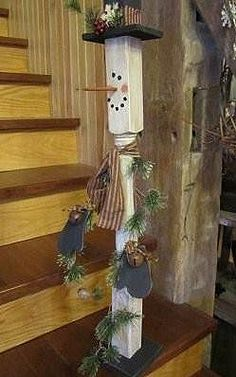 Snowman Spindle | Gatherings at Muncy Creek Barn Works Primitive Christmas, Christmas Signs, Rustic Christmas, Christmas Snowman, Winter Christmas, Christmas Ornaments, Wood Snowman, Snowman Crafts, Christmas Projects