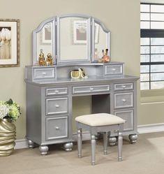 3 Pc Furniture Of America Athy Silver Vanity Set Cm Dk6848sv
