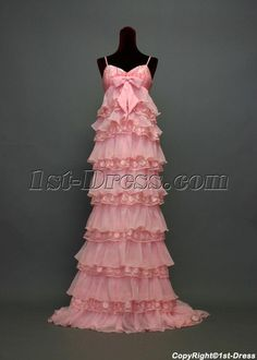 Pink Chiffon Spaghetti Straps Empire Full Length Maternity Evening Dresses With Tiered Maternity Prom Dresses, Maternity Evening Gowns, Evening Dresses, Affordable Prom Dresses, Cheap Prom Dresses, Formal Wedding, Wedding Gowns, Beautiful Evening Gowns, Ruffle Fabric