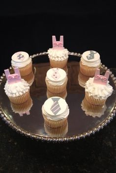 Tutus and ties cupcakes with fondant cupcake toppers.