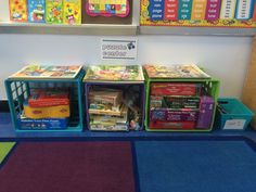Idea for small spaces: create a center like my puzzle center by using crates! They stay neat against the wall, are reasonably easy for the kids to keep organized, and allow the kids to see all the options they have for play - no unnecessary mess! Best part - the kids can complete the puzzles right there on the carpet. Teacher Desks, Puzzles, Crates, Small Spaces, Kindergarten, Classroom, The Unit, Organization, Play