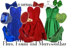 """♥ all the outfits for this Flora, Fauna, and Merryweather """"Sleeping Beauty"""" fairies Disneybound! Disney Bound Outfits, Princess Outfits, Disney Dresses, Disney Clothes, Sleeping Beauty Fairies, Disney Sleeping Beauty, Disney Inspired Fashion, Disney Fashion, Estilo Disney"""