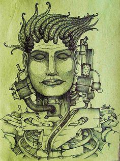 HUMANOIDI penna a sfera su carta paglia 2011