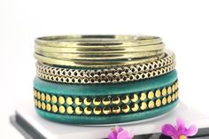 Retro Metallic Color Multilayer Peacockblue Bracelets for Women