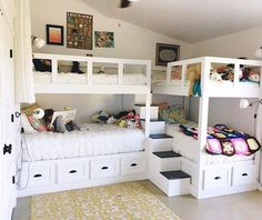 Decorating Ideas For Girls Bedrooms – 5 Age Groups – 5 Ideas This fun bunk room was sent in from Kelly Moore – Girls Room Furniture Bunk Bed Rooms, Bunk Beds Built In, Modern Bunk Beds, Bunk Beds With Stairs, Kids Bunk Beds, Triple Bunk Beds, Corner Bunk Beds, Bunk Bed Ideas For Small Rooms, L Shaped Bunk Beds