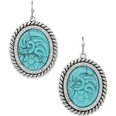 Carved Legacy Turquoise Earrings (ER3440TQ) ($58) ❤ liked on Polyvore featuring jewelry, earrings, carved earrings, turquoise jewellery, green turquoise jewelry, earring jewelry and carved jewelry