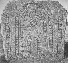 The Bro rune stone in Uppland, Sweden, was raised by a wife, Ginnlög, in honor of her dead husband, Assur.  It also commemorates the building of a bridge (a causeway across marshy ground) in memory of Assur.    The stone is carved with two serpent bands, around an ornamental cross.  It says that Assur kept watch with a comrade Gæitir, as part of the Víkinga vorđr, a local defense force against Viking raiders.  The photo below is taken from:    http://www.arild-hauge.com/sweden.htm