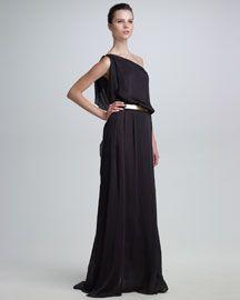 -3THR Maison Rabih Kayrouz One-Shoulder Silk Gown & Metal Belt