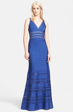 Herve Leger Cutout Detail Bandage Gown available at #Nordstrom
