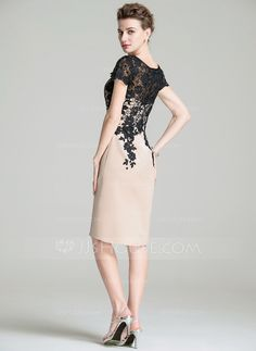 Sheath/Column Scoop Neck Knee-Length Lace Zipper Up Sleeves Short Sleeves Yes Other Colors General Plus Satin Lace Mother of the Bride Dress