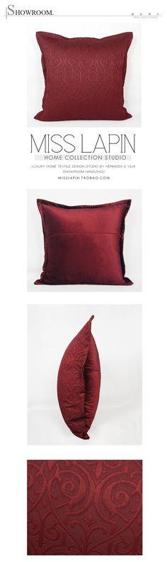 法式浪漫/样板房/床头沙发靠包抱枕高档/红色古典图案提花大方枕-淘宝网