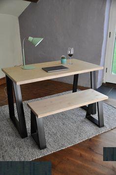 Industrial Desk Plywood on Trapezium Steel legs Custom Made Writing Sitting Computer Desk Modern Urban Sustainable Furniture Design, Modern Desk, Desk, Furniture, Wood Furniture, Bespoke Furniture, Plywood Table, Modern Computer Desk, Industrial Desk