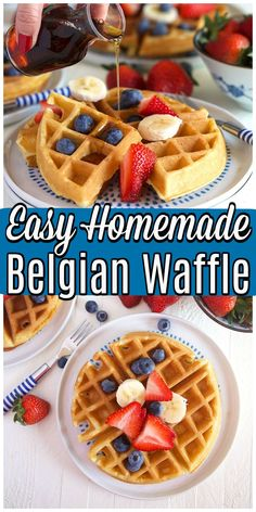 Crispy light and airy HOMEMADE Belgian Waffle recipe made from scratch with pantry ingredients. Crispy light and airy HOMEMADE Belgian Waffle recipe made from scratch with pantry ingredients. Authentic Belgian Waffles Recipe, Easy Belgian Waffle Recipe, Waffle Toppings, Waffle Recipes, Best Breakfast Recipes, Brunch Recipes, Breakfast Ideas, Breakfast Time, Waffle Ingredients