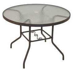 Patio Round Dining Table Outdoor Garden Furniture Tempered Glass Yard Deck 40
