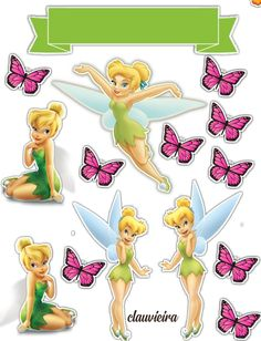 Tinkerbell Cake Topper, Tinkerbell Birthday Cakes, Princess Cake Toppers, Tinkerbell Party, Bolo Tinker Bell, 30th Birthday Cake Topper, Christmas Sheets, Enchanted Forest Party, Preppy Stickers