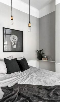 gray bedroom with pop of color 15 Bedroom Interior Design Ideas with Monochrome Themes For a More Elegant Look - Home Decor Monochrome Bedroom, Gray Bedroom, Home Bedroom, Modern Bedroom, Bedroom Ideas, Master Bedroom, Bedroom Decor, Bedroom Inspiration, Bedroom Furniture