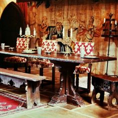 Medieval Dining Hall with Heavily Distressed Oak Furniture