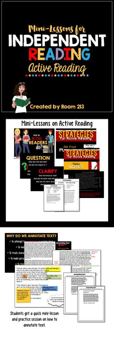 MINI-LESSONS FOR ACTIVE READING:  Great for #reader's workshop.