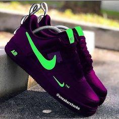 Purple and black colour nike air sneakers with green nike logo Jordan Shoes Girls, Girls Shoes, Nike Shoes For Men, Nike Shox For Women, Nike Casual Shoes, Shoes Men, Nike Shoes Air Force, Nike Air Max, Cute Sneakers