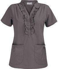 Butter-Soft Scrubs by UA™ Women's Ruffle Mandarin Collar Snap Front Scrub Top