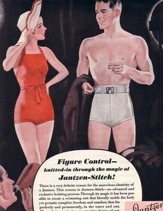 vintage mens fashion ads | Vintage Ad Swimsuits Ladies and Men Jantzen 1935,Vintage Ad Swimsuits ...